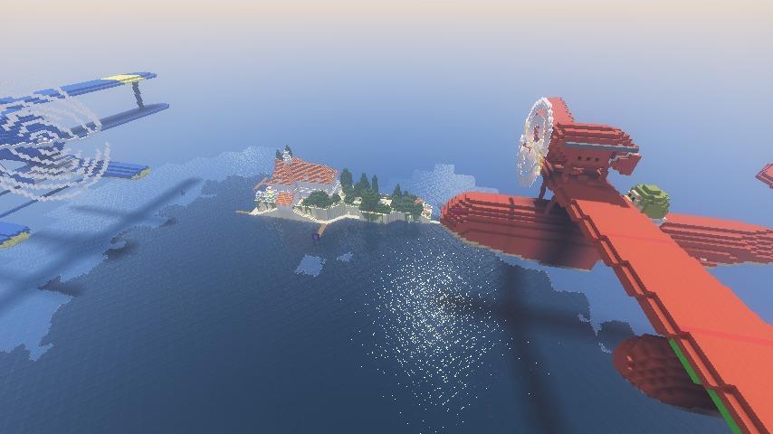 Minecrafterししゃもがマインクラフトでぷっこ村に紅の豚の決闘シーンを再現する6
