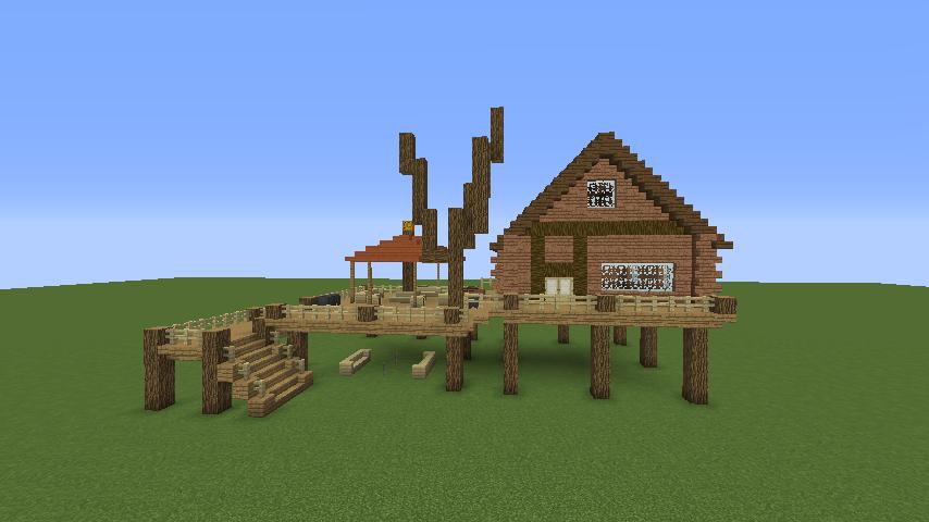 Minecrafterししゃもがマインクラフトでぷっこ村に移住者用のログハウスを建設する5