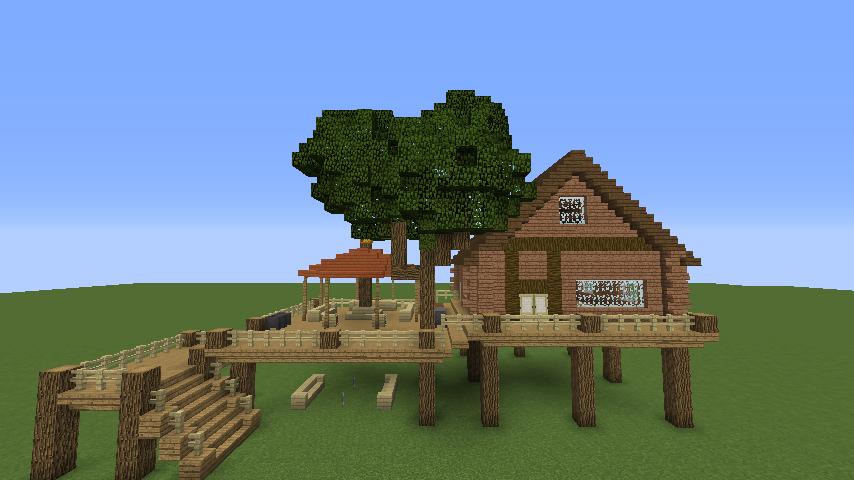 Minecrafterししゃもがマインクラフトでぷっこ村に移住者用のログハウスを建設する6