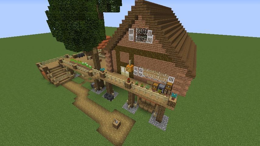 Minecrafterししゃもがマインクラフトでぷっこ村に移住者用のログハウスを建設する7