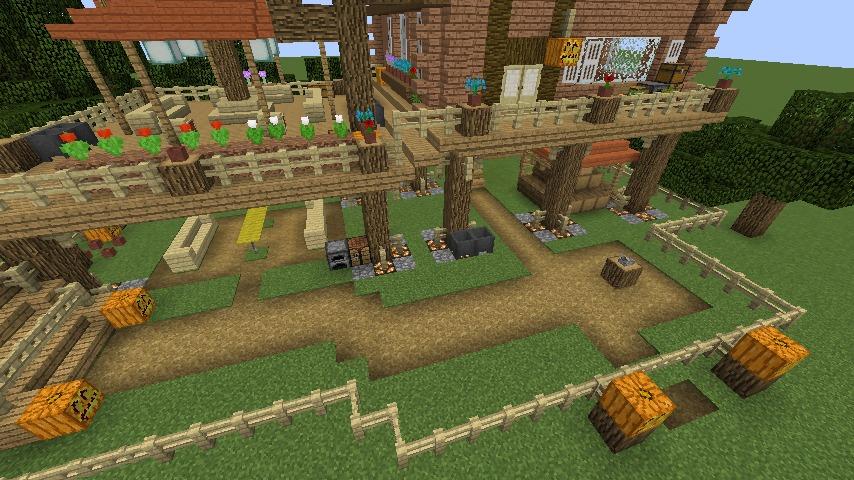 Minecrafterししゃもがマインクラフトでぷっこ村に移住者用のログハウスを建設する8