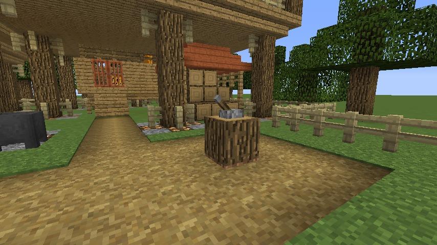 Minecrafterししゃもがマインクラフトでぷっこ村に移住者用のログハウスを建設する11