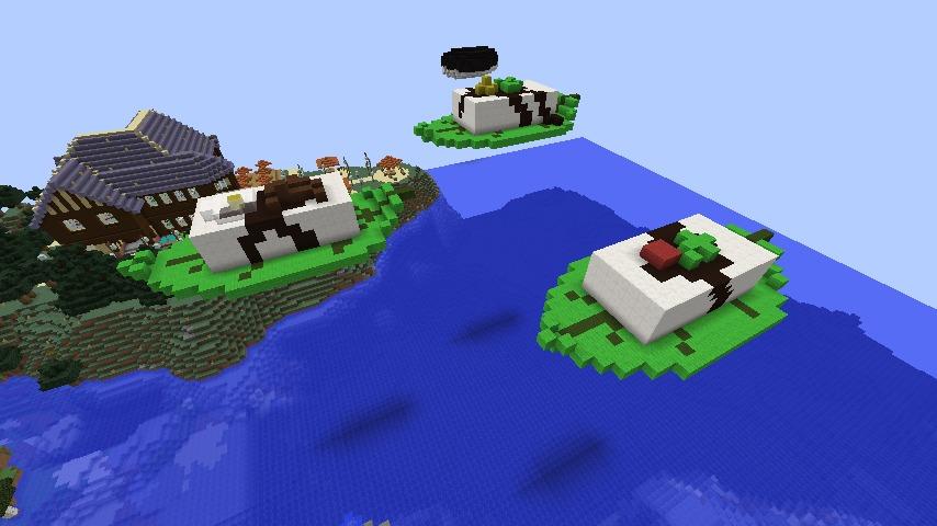 Minecrafterししゃもがマインクラフトでぷっこ村に空飛ぶ3連豆腐を作る
