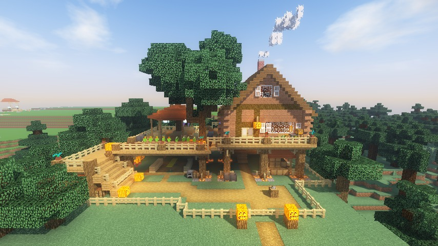 Minecrafterししゃもがマインクラフトでぷっこ村に移住者用のログハウスを建設する120