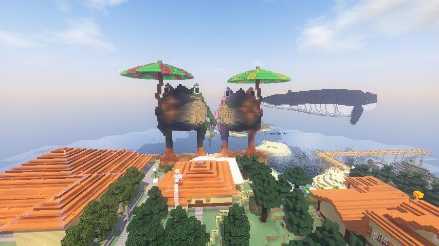 ある日のぷっこ村Minecrafterししゃもがマインクラフトでぷっこ村にカエルの置物を作る9