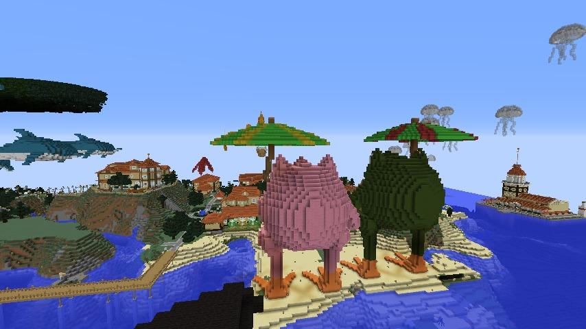 ある日のぷっこ村Minecrafterししゃもがマインクラフトでぷっこ村にカエルの置物を作る8
