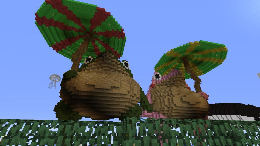 ある日のぷっこ村Minecrafterししゃもがマインクラフトでぷっこ村にカエルの置物を作る3