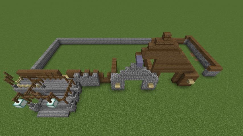 Minecrafterししゃもがマインクラフトでぷっこ村にデザイナーズログハウスを建てる3