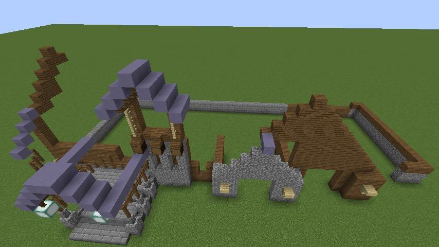 Minecrafterししゃもがマインクラフトでぷっこ村にデザイナーズログハウスを建てる4