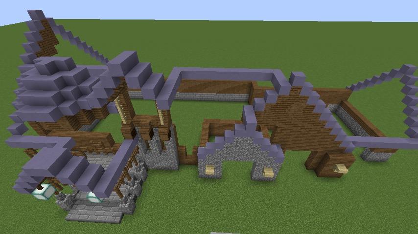 Minecrafterししゃもがマインクラフトでぷっこ村にデザイナーズログハウスを建てる6