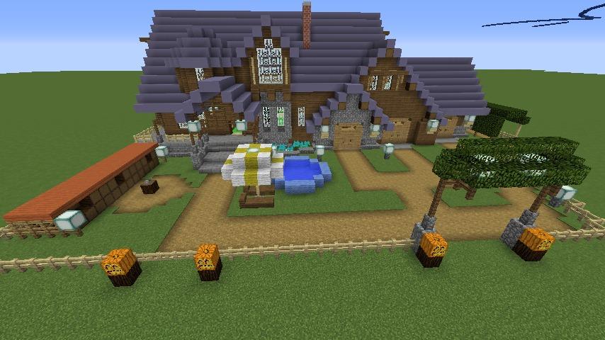 Minecrafterししゃもがマインクラフトでぷっこ村にデザイナーズログハウスを建てる9