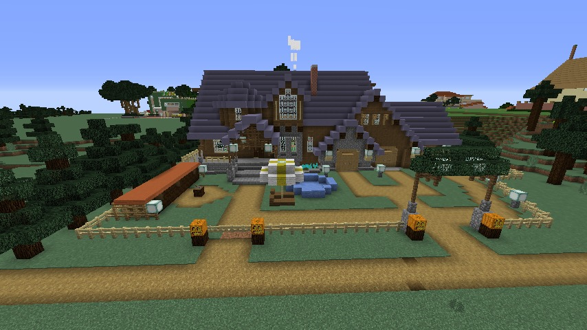 Minecrafterししゃもがマインクラフトでぷっこ村にデザイナーズログハウスを建てる10