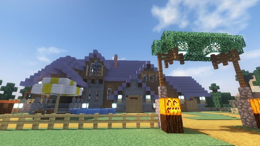 Minecrafterししゃもがマインクラフトでぷっこ村にデザイナーズログハウスを建てる16