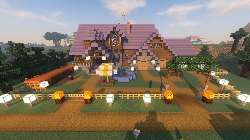 Minecrafterししゃもがマインクラフトでぷっこ村にデザイナーズログハウスを建てる17
