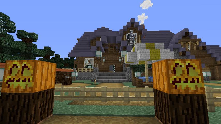 Minecrafterししゃもがマインクラフトでぷっこ村にデザイナーズログハウスを建てる11