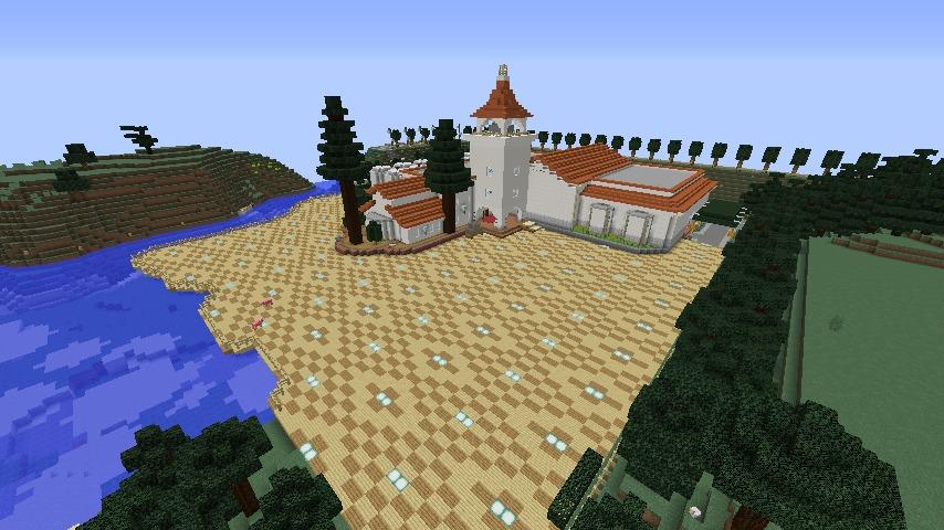 Minecrafterししゃもがマインクラフトでぷっこ村にある金曜日のオレ工場の敷地を彩る2