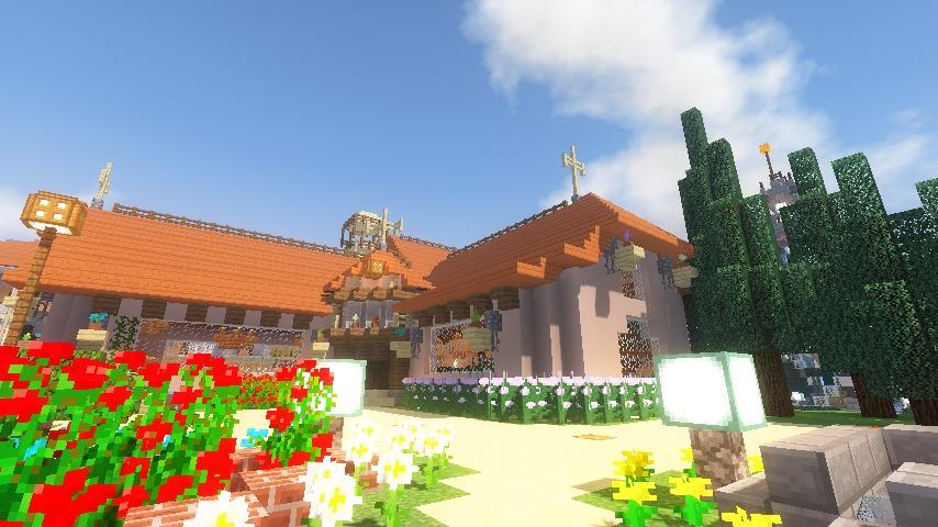 Minecrafterししゃもがマインクラフトでぷっこ村にオルゴールの森にある小さな教会を建てて結婚式場にする14