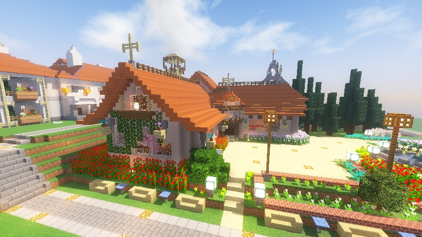 Minecrafterししゃもがマインクラフトでぷっこ村にオルゴールの森にある小さな教会を建てて結婚式場にする13