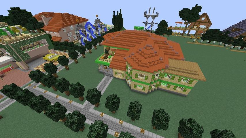 Minecrafterししゃもがマインクラフトでぷっこ村にブラフ18番館を建設し巨大噴水を眺めながらくつろげる観光資源化する2