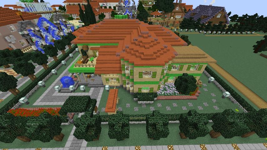 Minecrafterししゃもがマインクラフトでぷっこ村にブラフ18番館を建設し巨大噴水を眺めながらくつろげる観光資源化する8