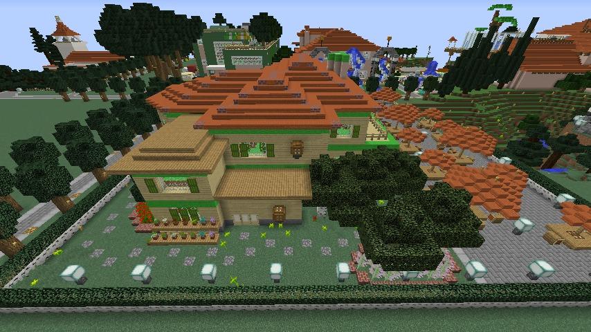 Minecrafterししゃもがマインクラフトでぷっこ村にブラフ18番館を建設し巨大噴水を眺めながらくつろげる観光資源化する9