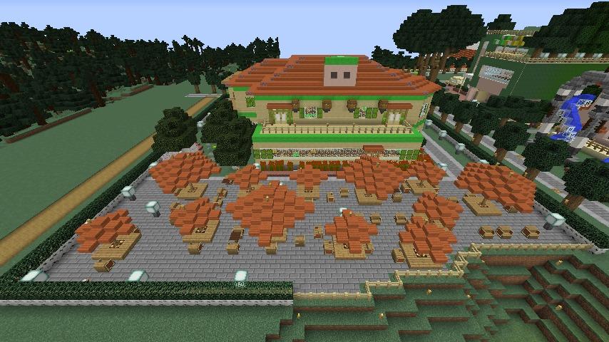 Minecrafterししゃもがマインクラフトでぷっこ村にブラフ18番館を建設し巨大噴水を眺めながらくつろげる観光資源化する11