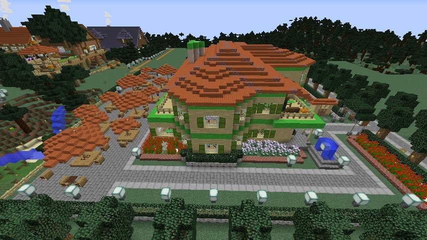 Minecrafterししゃもがマインクラフトでぷっこ村にブラフ18番館を建設し巨大噴水を眺めながらくつろげる観光資源化する10