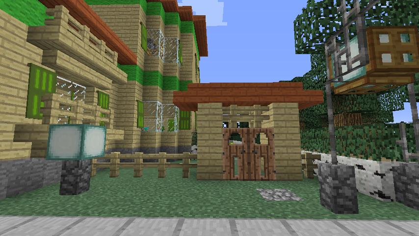 Minecrafterししゃもがマインクラフトでぷっこ村にブラフ18番館を建設し巨大噴水を眺めながらくつろげる観光資源化する13