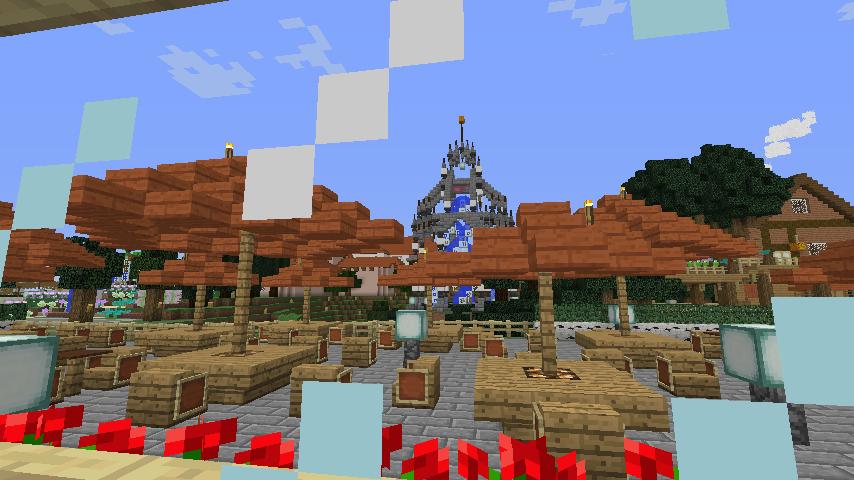 Minecrafterししゃもがマインクラフトでぷっこ村にブラフ18番館を建設し巨大噴水を眺めながらくつろげる観光資源化する20