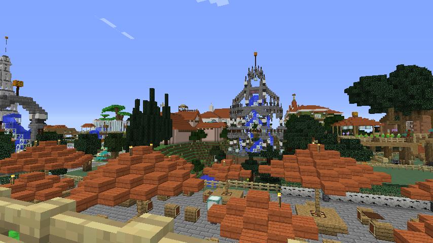Minecrafterししゃもがマインクラフトでぷっこ村にブラフ18番館を建設し巨大噴水を眺めながらくつろげる観光資源化する21