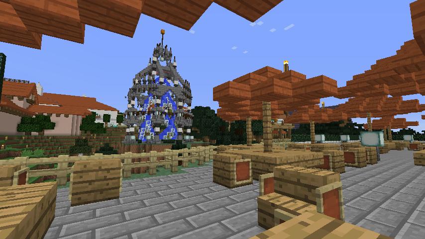Minecrafterししゃもがマインクラフトでぷっこ村にブラフ18番館を建設し巨大噴水を眺めながらくつろげる観光資源化する22