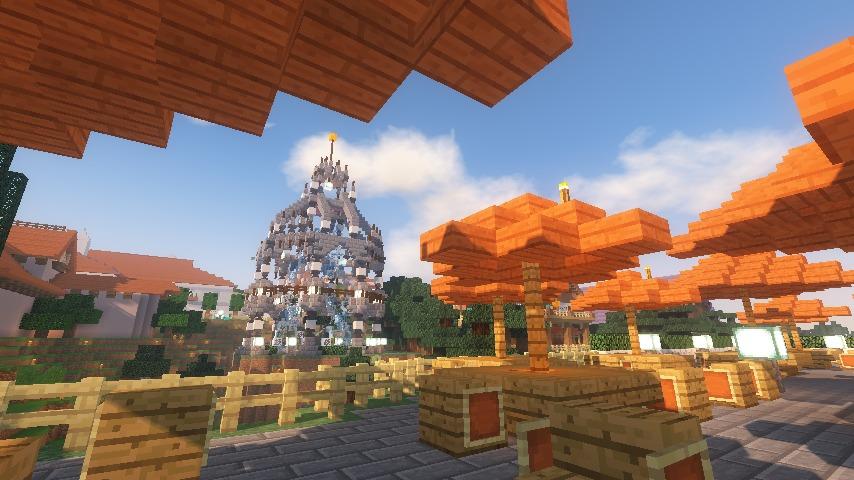 Minecrafterししゃもがマインクラフトでぷっこ村にブラフ18番館を建設し巨大噴水を眺めながらくつろげる観光資源化する26