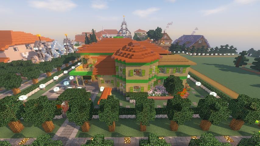 Minecrafterししゃもがマインクラフトでぷっこ村にブラフ18番館を建設し巨大噴水を眺めながらくつろげる観光資源化する23