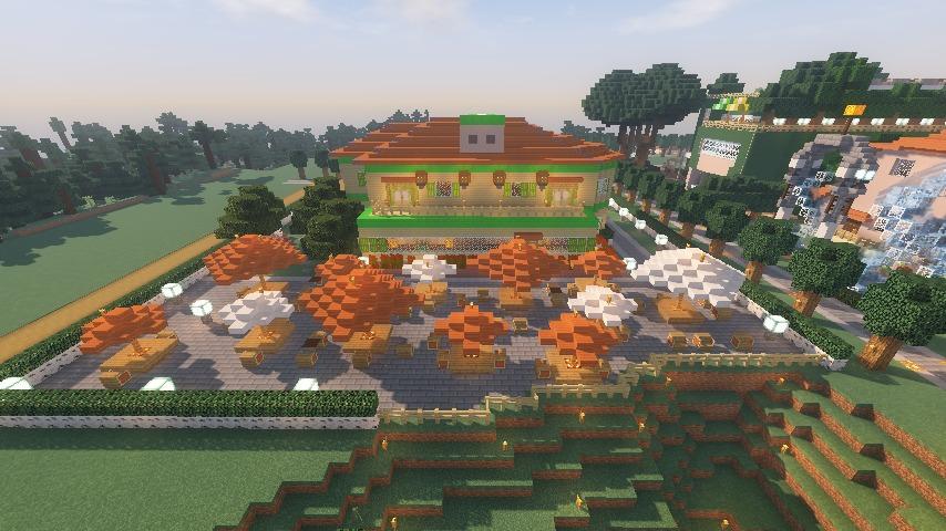 Minecrafterししゃもがマインクラフトでぷっこ村にブラフ18番館を建設し巨大噴水を眺めながらくつろげる観光資源化する24