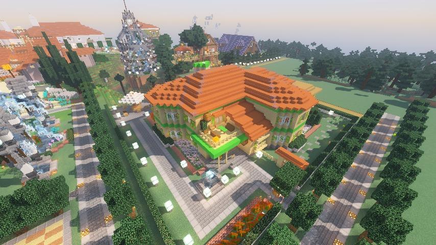 Minecrafterししゃもがマインクラフトでぷっこ村にブラフ18番館を建設し巨大噴水を眺めながらくつろげる観光資源化する25
