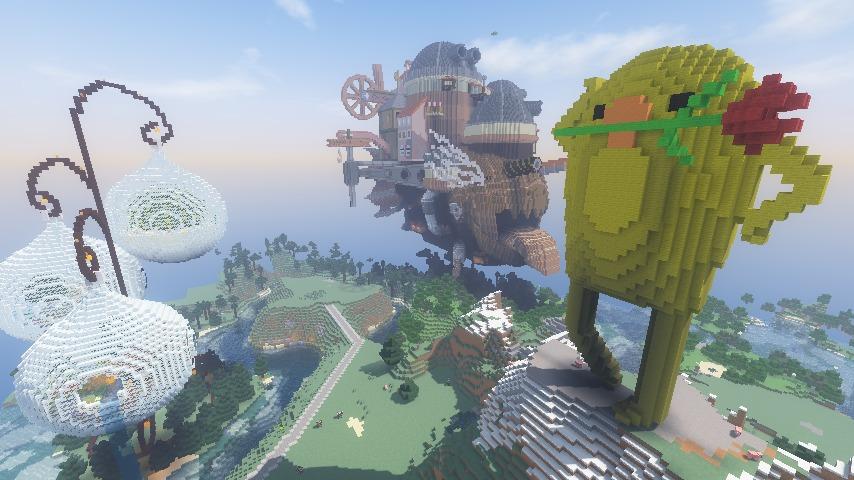 Minecrafterししゃもがマインクラフトでぷっこ村に三文堂のひよこを再現する9
