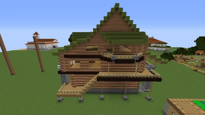 Minecrafterししゃもがマインクラフトでぷっこ村に移住希望者受け入れのためのログハウス5号を建設する6