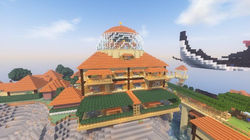 Minecrafterししゃもがマインクラフトでぷっこ村にある老舗リゾートホテルを紹介する1