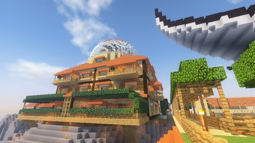 Minecrafterししゃもがマインクラフトでぷっこ村にある老舗リゾートホテルを紹介する27