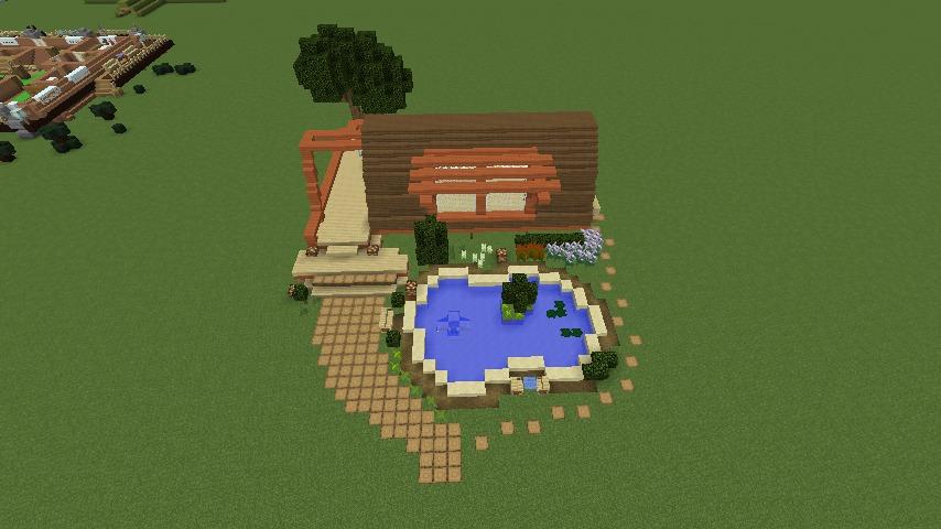 Minecrafterししゃもがマインクラフトでぷっこ村に移住者受け入れ用のログハウス6号を建築する3