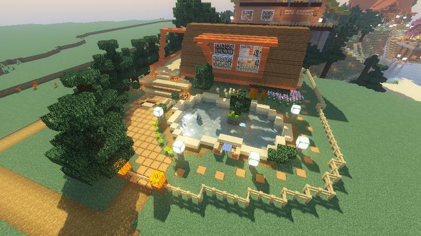 Minecrafterししゃもがマインクラフトでぷっこ村に移住者受け入れ用のログハウス6号を建築する14