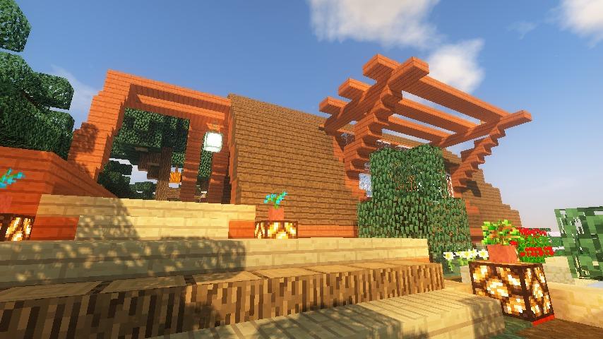 Minecrafterししゃもがマインクラフトでぷっこ村に移住者受け入れ用のログハウス6号を建築する16