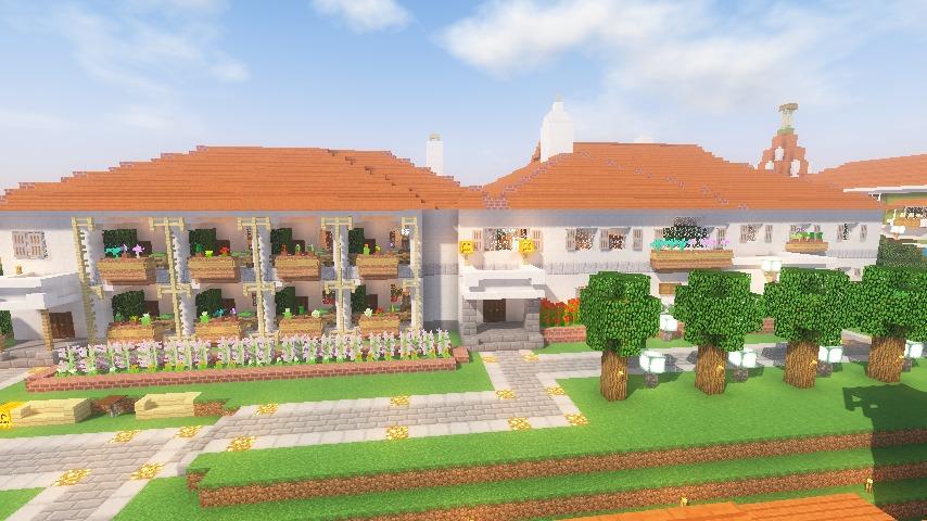 Minecrafterししゃもがマインクラフトでぷっこ村にイギリス館を建てて紹介する18