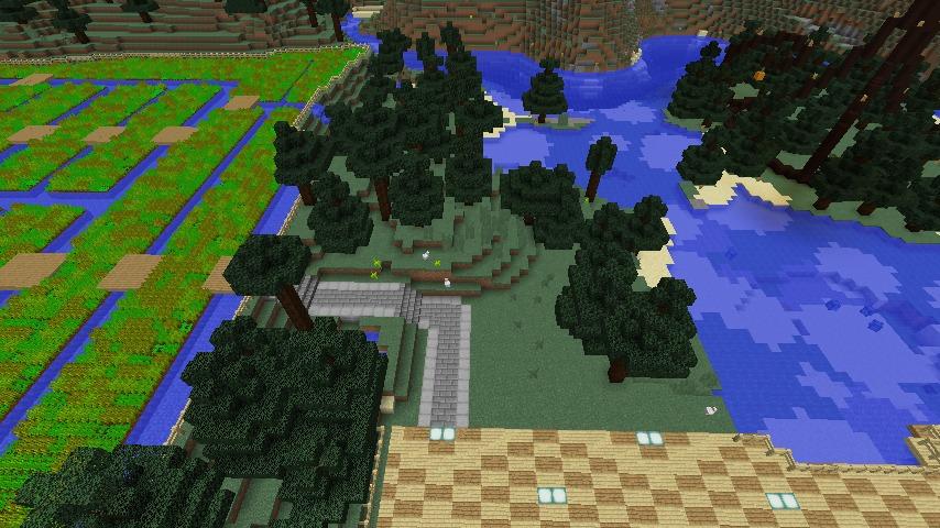 Minecrafterししゃもがマインクラフトでぷっこ村にある金曜日のオレ工場の敷地を彩る8
