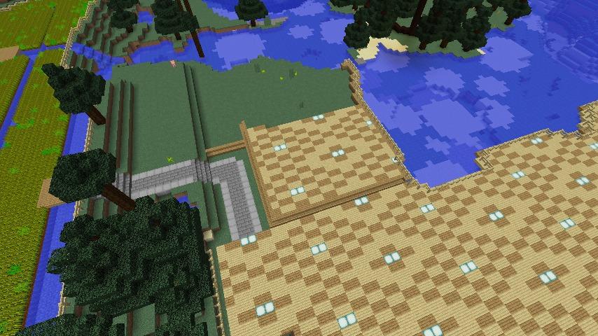 Minecrafterししゃもがマインクラフトでぷっこ村にある金曜日のオレ工場の敷地を彩る9