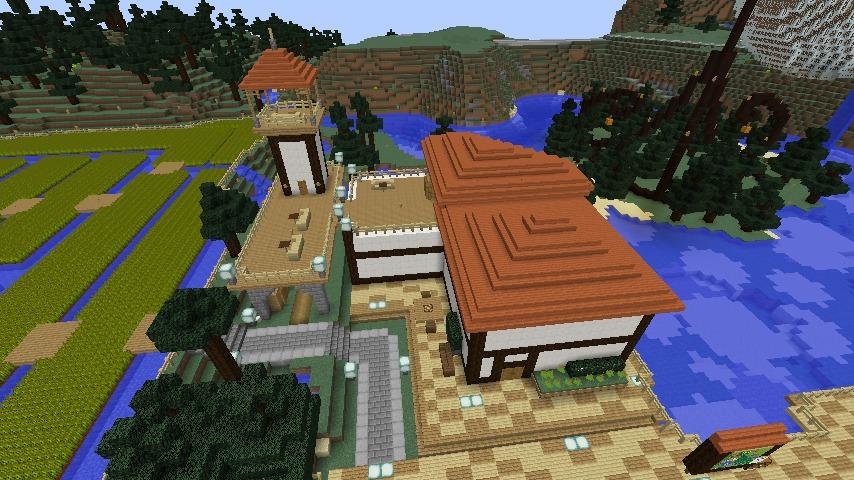 Minecrafterししゃもがマインクラフトでぷっこ村にある金曜日のオレ工場の敷地を彩る10