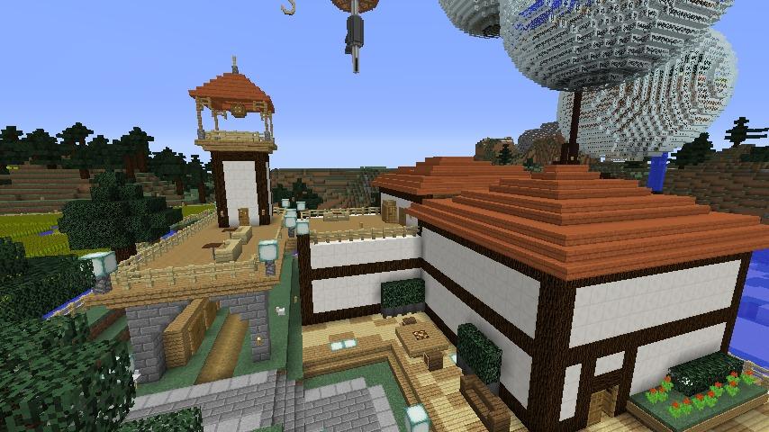 Minecrafterししゃもがマインクラフトでぷっこ村にある金曜日のオレ工場の敷地を彩る11