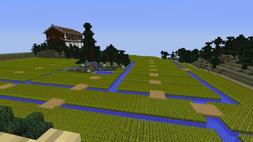 Minecrafterししゃもがマインクラフトでぷっこ村にある金曜日のオレ工場の敷地を彩る12