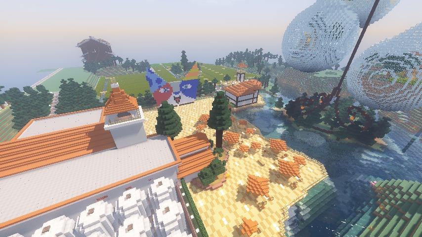 Minecrafterししゃもがマインクラフトでぷっこ村にある金曜日のオレ工場の敷地を彩る15