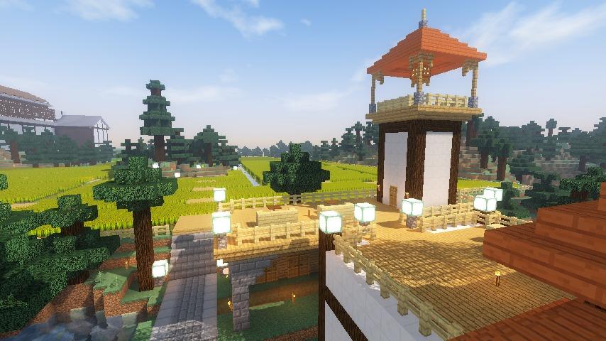 Minecrafterししゃもがマインクラフトでぷっこ村にある金曜日のオレ工場の敷地を彩る16